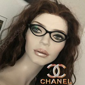 CHANEL Authentic Cat Eye Black Glasses IN CASE new